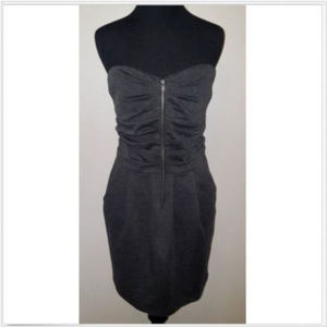 Body Central Gray Strapless Zip Up Sheath Dress